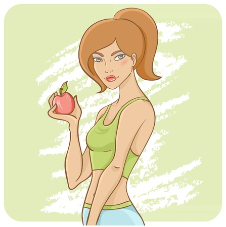 Sporty fit girl on a diet with green apple wearing fitness clothes