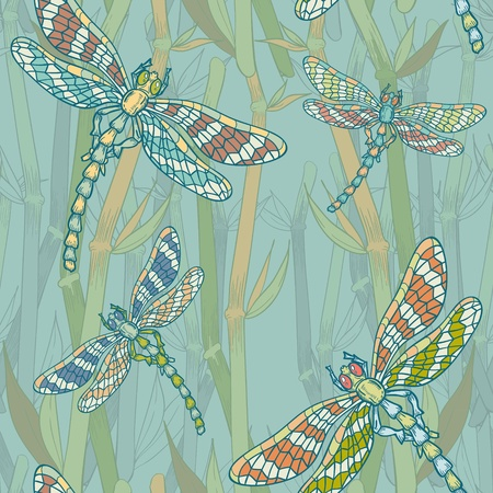 Fantasy seamless pattern with dragonflies on the lake hand-drawn vintage picture Vector