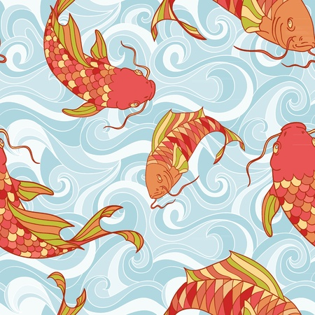 carp: Colorful fish in the sea waves hand drawing seamless pattern Illustration