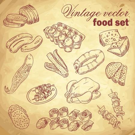 salami: Vintage dibujado a mano alimentos conjunto con varios platos deliciosos