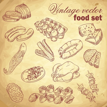 Vintage hand-drawn food set with various delicious dishes