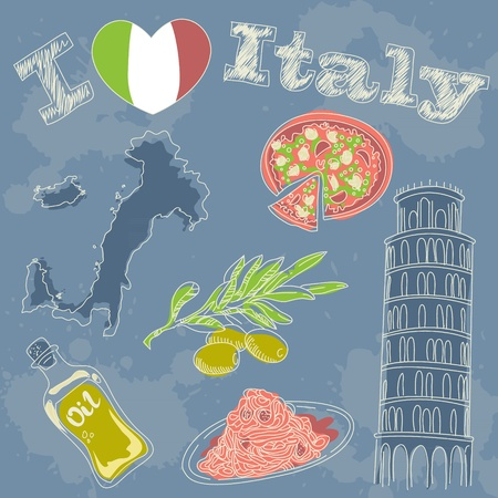 Italy travel grunge card with national italian food, sights, map and flag Stock Vector - 13554227