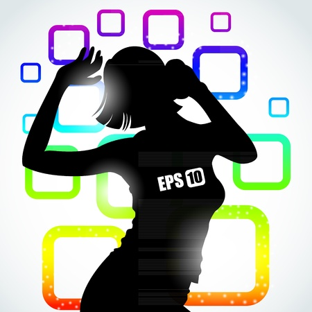Music girl silhouette on a colorful rainbow square background eps10 with effects Vector