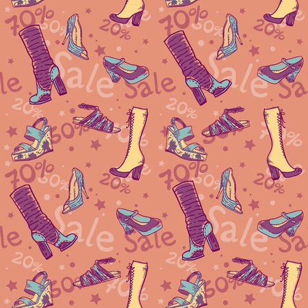 Sale discount woman shoes seamless colorful texture Stock Vector - 13554232