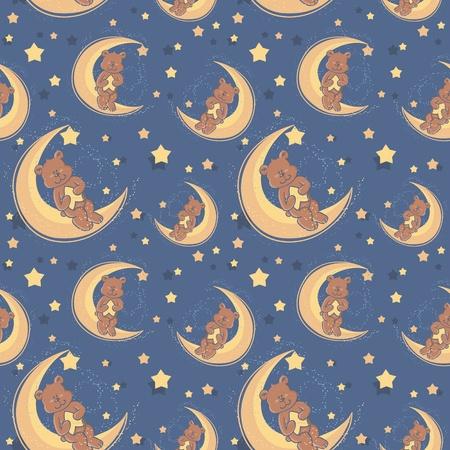 dulces sue�os: Oso de peluche sentado en una luna y una estrella de la celebraci�n de los dulces sue�os patr�n textil sin costuras