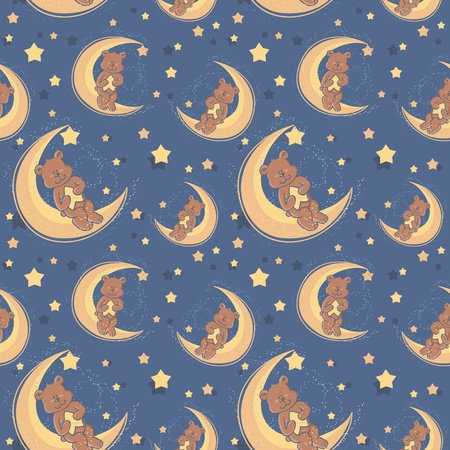 Teddy bear sitting on a moon and holding a star for sweet dreams seamless textile pattern Vector