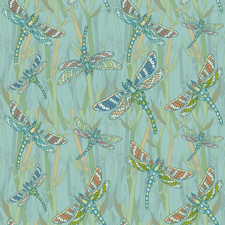bog: Fantasy seamless pattern with dragonflies on the lake hand-drawn vintage picture