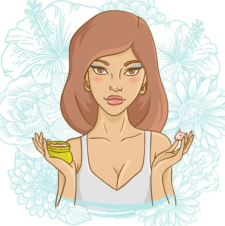 Beautiful young woman with a face cream on ornate floral background Vector