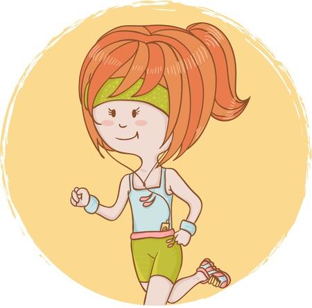 sports form: Carino catroon ragazza sportiva su una pista e listenning di walkman