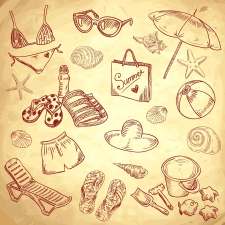 Hand drawn retro icons summer beach set on a grunge paper background Ilustrace