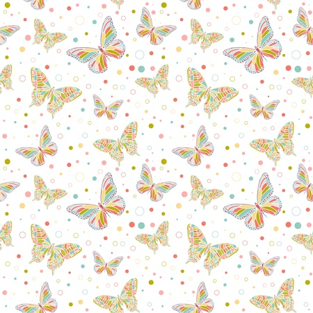 Colorful butterflies and spots seamless pattern Vector