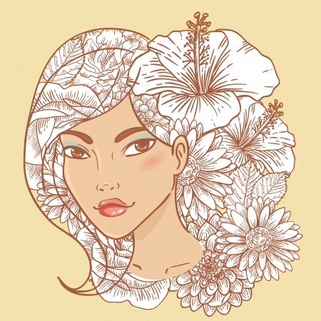 make up face: Attractive smiling young woman with floral hair and natural makeup