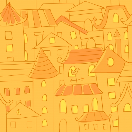 housetop: Retro style hand drawn city houses seamless colorful pattern Illustration