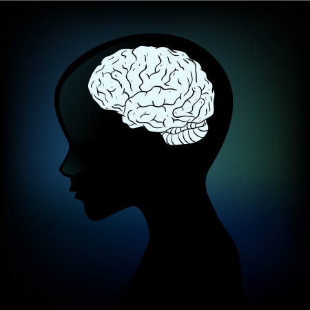 diagnostic: Human anatomical profile silhouette with a brain in his head Illustration