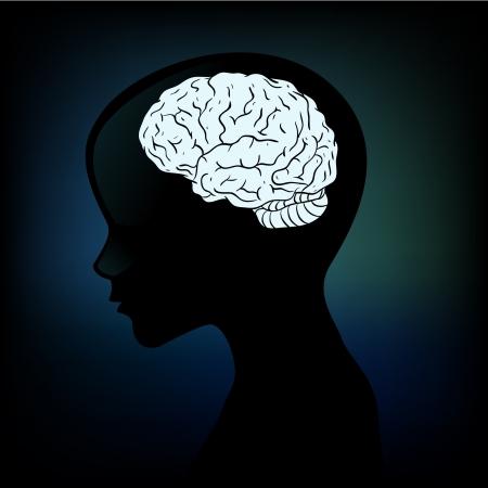 enfermedades mentales: Silueta humana con un perfil anat�mico del cerebro en la cabeza