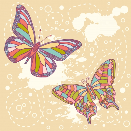 Colorful butterflies and spots card Vector
