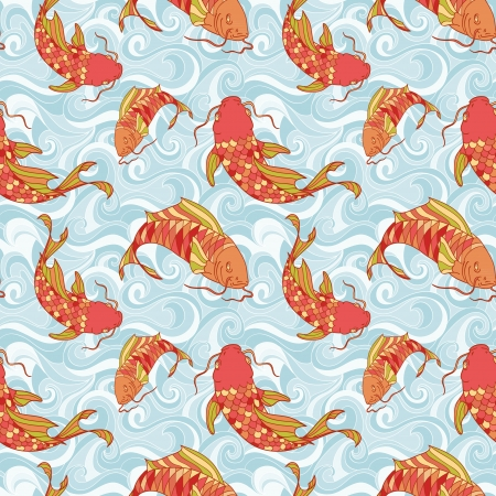 Colorful fish in the sea waves hand drawing seamless pattern Illustration