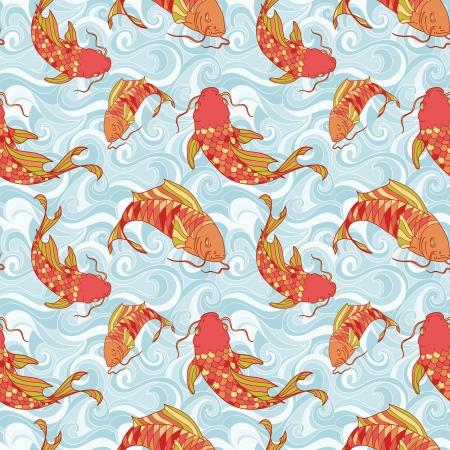 pez carpa: Peces de colores en el patr�n de las ondas del mar dibujo a mano sin problemas Vectores