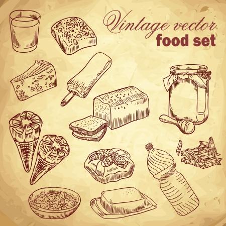 Vintage dibujado a mano alimentos conjunto con varias cosas sabrosas y platos para el desayuno