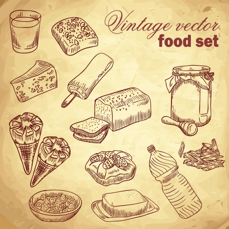 bread and butter: Vintage hand-drawn food set with various tasty things and dishes for breakfast Illustration