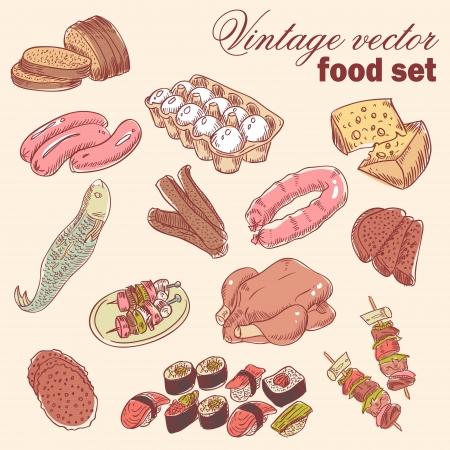salame: Vintage disegnati a mano set cibo con vari piatti deliziosi