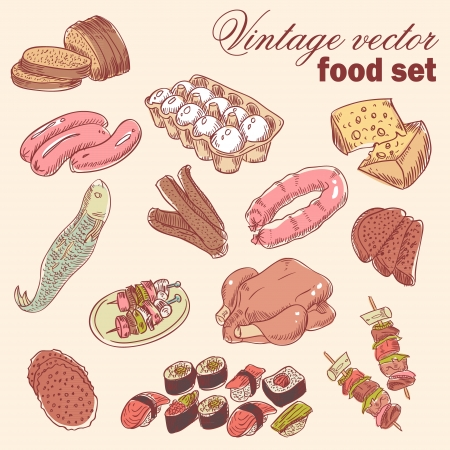 Vintage hand-drawn food set with various delicious dishes Vector