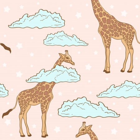 long neck: Cute giraffe in clouds seamless pattern on stars background