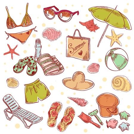 enfant maillot de bain: Main dessinée plage rétro été icônes sur un fond de papier grunge Illustration