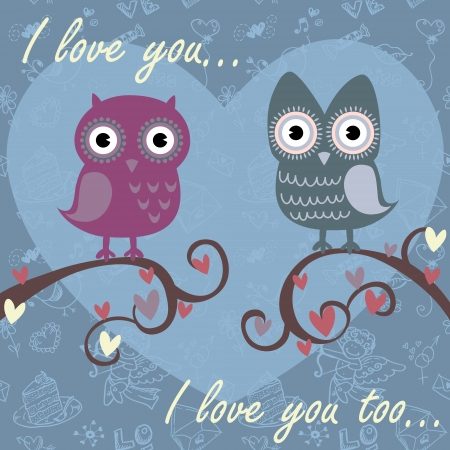 Valentine love card with cute romantic owls and hearts Stock Vector - 14291813