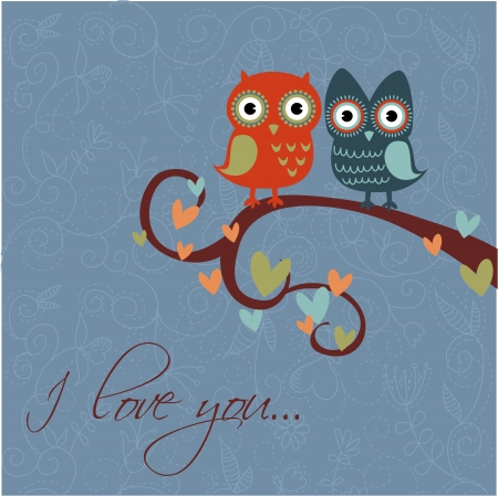 Valentine love card with cute romantic owls and hearts Stock Vector - 14291812