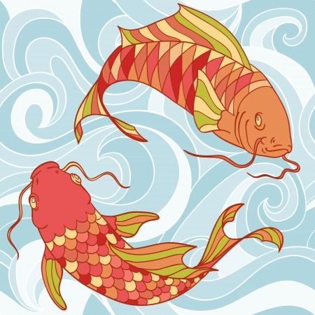 carp: Colorful fish in the sea waves hand drawn card Illustration