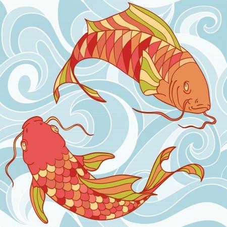 catfish: Coloridos peces en el mar las ondas dibujado a mano tarjeta