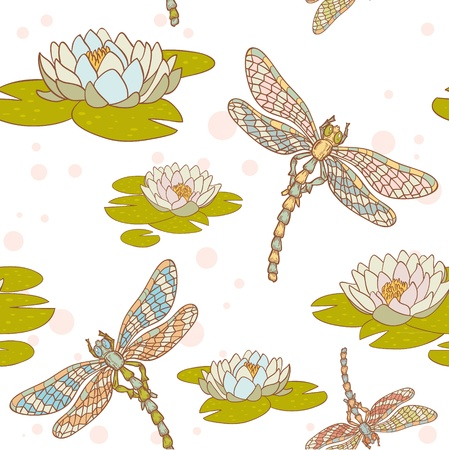 Dragonflies and water lilies seamless vector pattern Vector
