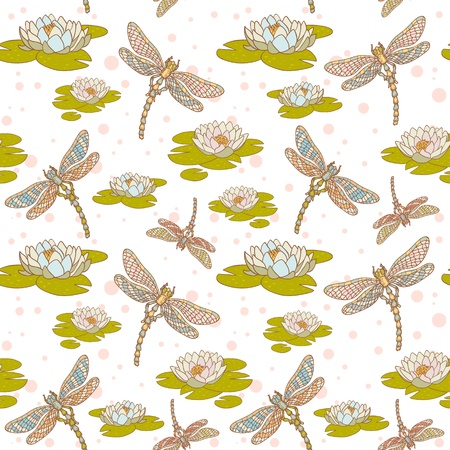 dragonfly wings: Dragonflies and water lilies seamless  pattern