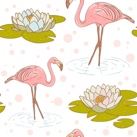 Pink flamingo standing in the water with water lily flower seamless texture Vector