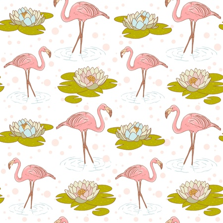 Pink flamingo standing in the water with water lily flower seamless texture