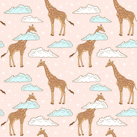 Cute giraffe in clouds seamless pattern on stars background Vector