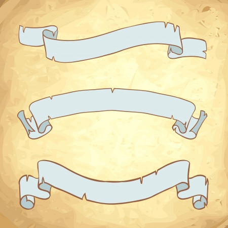 medieval scroll: Vintage paper ribbons on anscient background  set Illustration