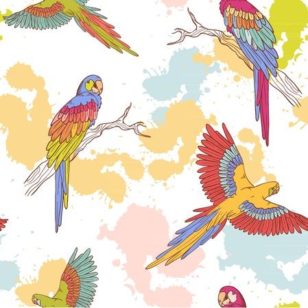 Parrot ara seamless grunge colorful pattern