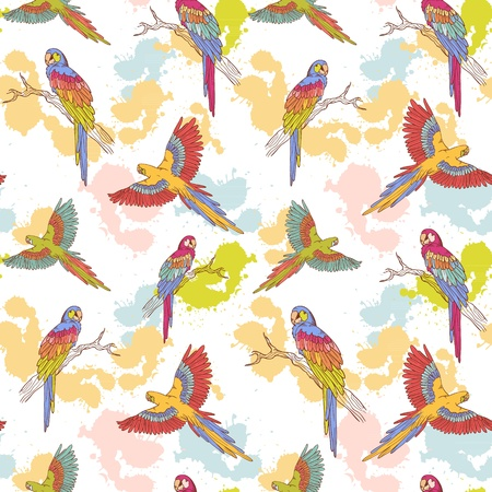 Parrot ara seamless grunge colorful pattern Vector