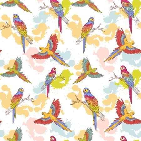 bird drawing: Parrot ara seamless grunge colorful pattern