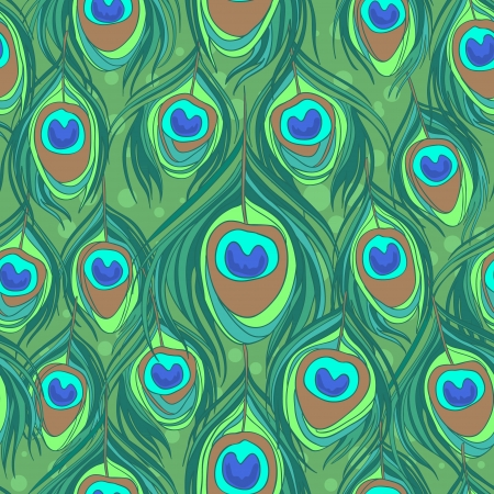 Colorful peacock feather seamless  pattern Vector