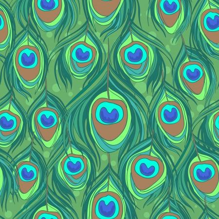 plumas de pavo real: Pavo real, plumas de colores patrón sin fisuras Vectores