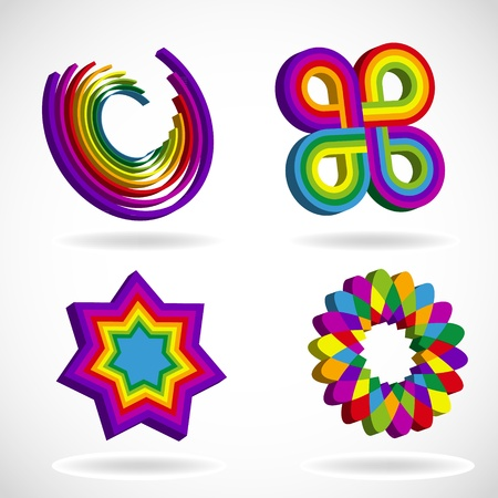 Rainbow colored abstract logo symbols Vector