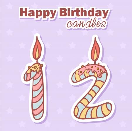 luminary: Birthday candles nubmer figures colorful set Illustration