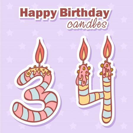 40th: Birthday candles nubmer figures colorful set Illustration
