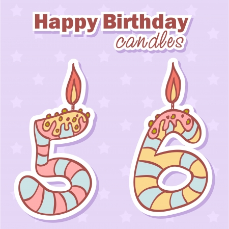 Birthday candles nubmer figures colorful set Vector
