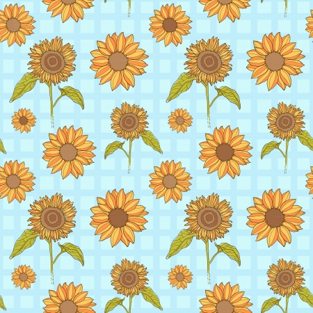 Bright sunflowers floral seamless pattern on square background Vector