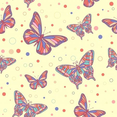retro vintage: Colorful butterflies and spots seamless pattern Illustration