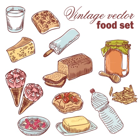 Vintage hand-drawn food set with various tasty things and dishes for breakfast Illustration